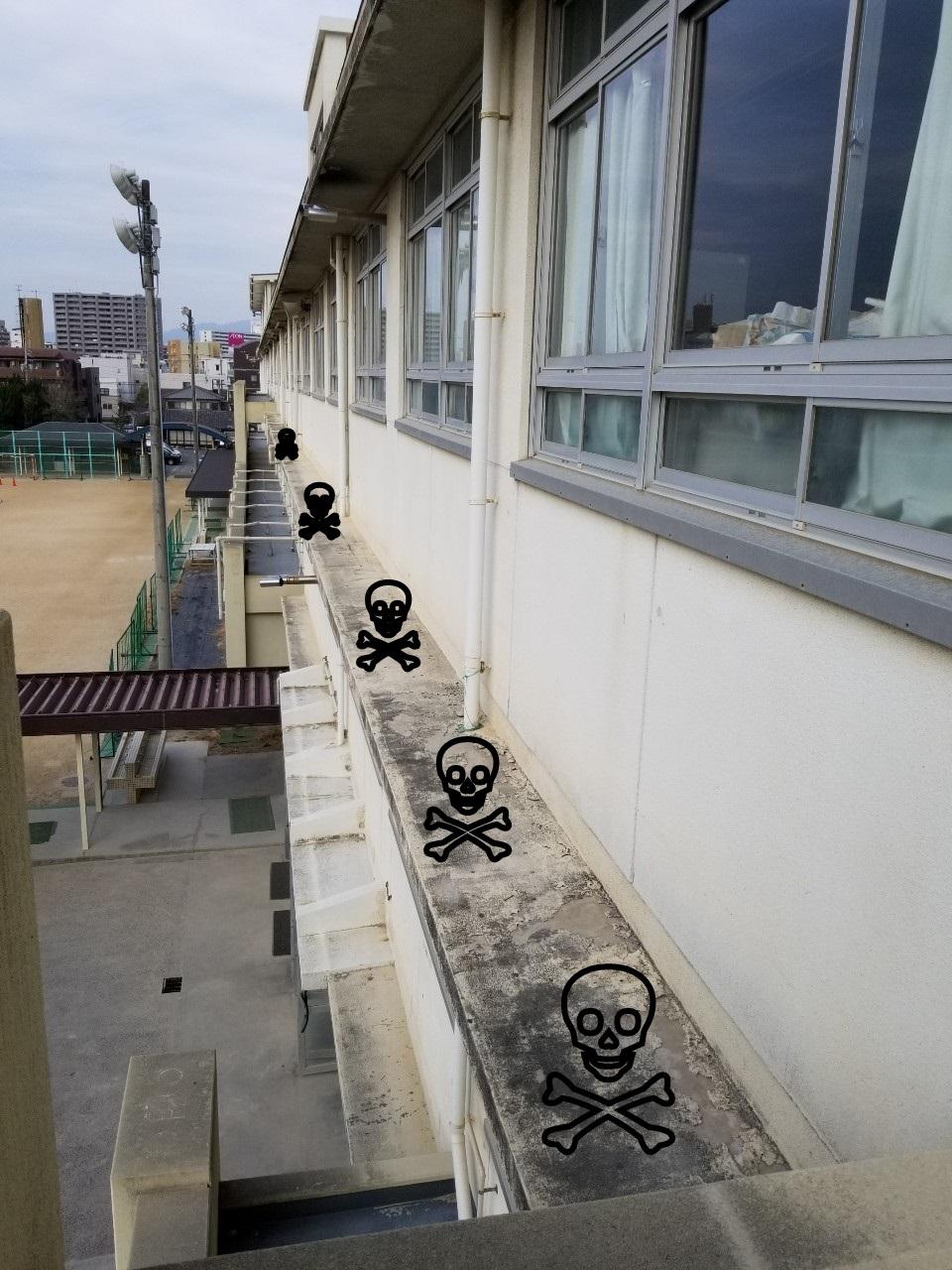 校舎の3Fの窓から外に出ると危険な犬走りがあります